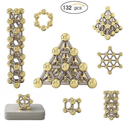 New 132pcs Magnet Construction Set, Magnetic Stick & Real Gold Plating Balls Building Blocks Toys, Brain Training and Stem Learning Game with Instruction Booklet for Kids and Adults (Upgrade) by sinocles