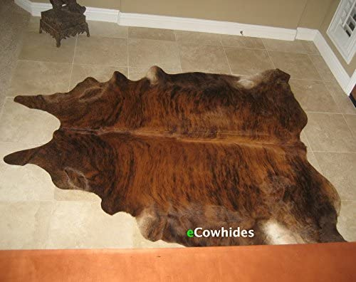 ecowhides Brindle Brazilian Cowhide Area Rug, Cowskin Leather Hide for Home Living Room Large 6 x 6 ft