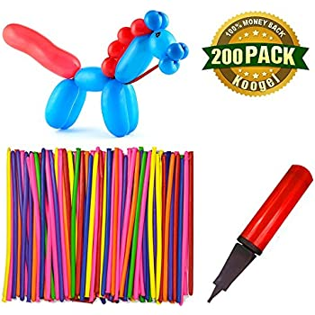 Koogel 200PCS 260Q Twisting Animal Balloons with Balloon Pump Assorted Color Thickening Latex Twisting Modeling Long Magic Balloons for Animal Shape Weddings, Birthdays Clowns, Party Decorations