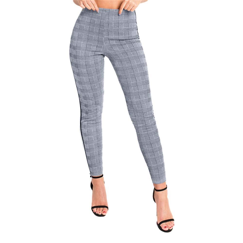 best service 8c490 3958d Pantalon à Carreaux Femme taille haute Slim chic,Koly Leggings Pantalons  crayon femme Elastique rétro plaid pantalons droit moulant Stretch Fitness  ...