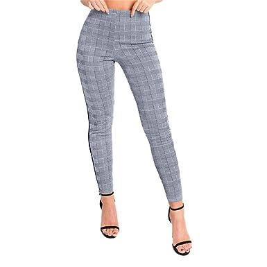 bas prix 254ec 511d4 Pantalon à Carreaux Femme Taille Haute Slim Chic,Koly Leggings Pantalons  Crayon Femme Elastique rétro Plaid Pantalons Droit Moulant Stretch Fitness  ...