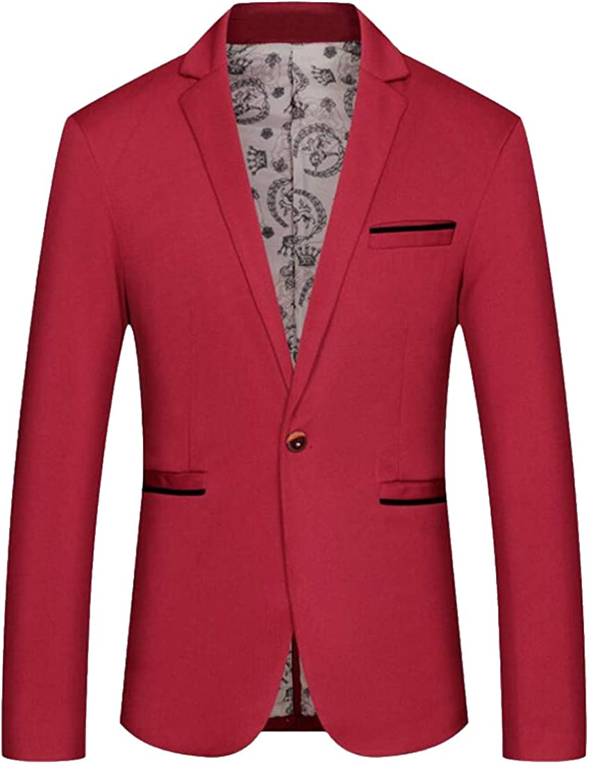 BOBOYU Mens Casual One Button Slim Fit Plain Business Lapel Collar Blazer Jacket Coat