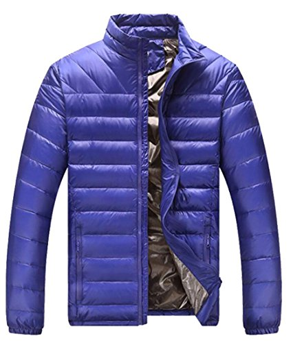 M&S&W Men's Stand Collar Thin Section Long Sleeve Down Jacket Sapphire Blue