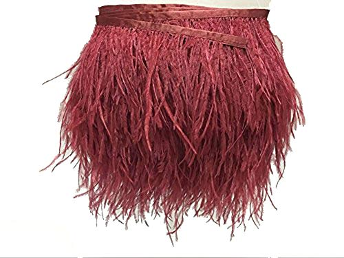 KOLIGHT Pack of 5 Yards Natural Dyed Ostrich Feathers Trim Fringe 4~5inch for DIY Dress Sewing Crafts Costumes Decoration (Red Wine) ()