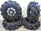 "Bundle - 9 Items: STI HD3 14"" Wheels Black 28"" Mega Mayhem Tires [4x137 Bolt Pattern 12mmx1.25 Lug Kit]"