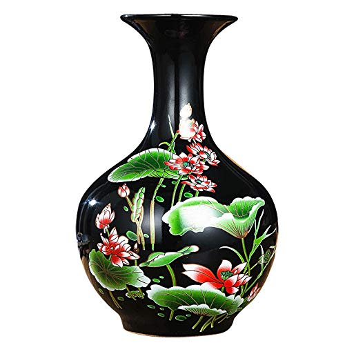 (DEI QI High-Grade Ceramic vase Decoration, Chinese Design, Retro Living Room/Porch/TV Cabinet/Cabinet/Bedroom Decoration, Delicate Lotus Pattern + Texture Glazed, Smooth and Delicate, 5.5 9.)