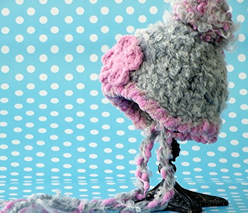 Crochet Baby Girl Beanie Hat, Pompom Skull Hat Grey and Pink