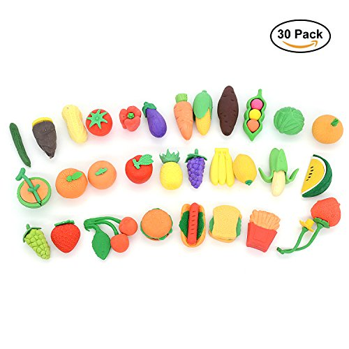 Pencil Erasers Puzzle Kitchen Food Erasers for Kids Party Favors, Games Prizes, Carnivals and School Supplies. Halloween and Christmas Gift for Children. 30 Pack -