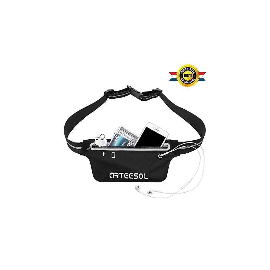 """Arteesol Fanny Pack, Waterproof Waist Pack Bounce Free 5.5"""" Small Running Belt Phone Pouch for Sports Workout Hiking Fitness Fits iPhone X 6 6s 7 8 plus iPod, Samsung Galaxy and Other Phones (Black)"""