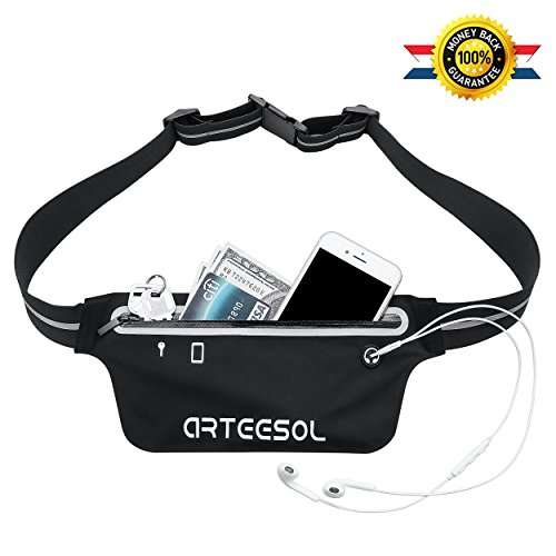 Fanny Pack, Arteesol Waterproof Waist Pack Bounce Free Running Belt Phone Pouch for Sports Workout Hiking Fitness Fits iPhone X 6 6s 7 8 plus iPod, Samsung Galaxy and Other Phones (Black)