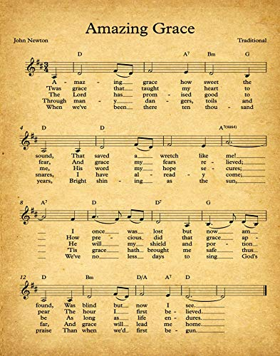 Amazing Grace Sheet Music Poster Amazing Grace Song John Newton Gospel Music Poster Hymn Wall Art Hymn Poster Amazing Grace Sign Music Art (13 x 19, ()
