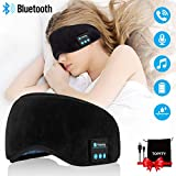 Wireless Sleeping Headphones,Bluetooth Sleeping Headphones Stereo Bluetooth Sleep Eye Mask Wireless Bluetooth Headphones Music Travel Sleeping Headsets with Microphone Handsfree Sleep Eye Shades Black