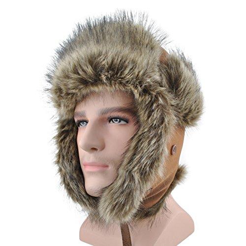 c27fed105fb Unisex Winter Hat Faux Fur Trapper Hat Cotton Wool Blend Warm Ushanka  Russian Hunting Hat