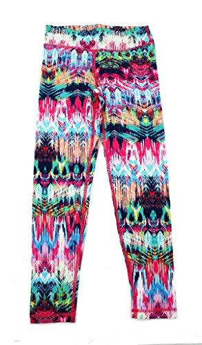 90 Degree by Reflex Kids - Girls Printed Leggings - Childrens Pants - Double Feather Fuchsia Green Large (Leggings Kids)