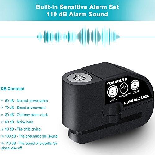 YOHOOLYO Disc Lock Alarm Motorcycle Alarm Padlock with 110db Alarm Sound for Motorcycles Bicycles