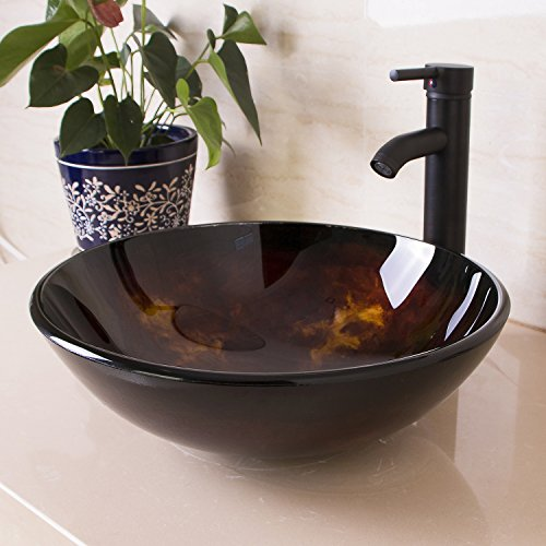 Walcut 16.5''L X 16.5''W X 5.5''H Bathroom Vessel Sink Above Counter Round Glass Vessel Sink With Faucet