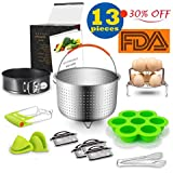 Kyonano 13 Pcs Pressure Cooker Accessories Compatible with Instant Pot 5,6,8QT and Other Electric Pressure Cookers, Include Steamer Basket, Springform Pan, 2 Egg Steamer Rack, 4 Cheat Sheet Magnet