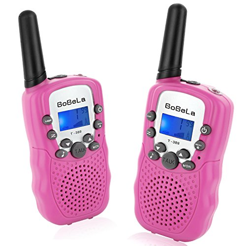 Bobela T388 Best Friendly Walkie Talkies as Thanksgiving Day Gifts for Girls Women / Two Way Radio Toys for Kids Hiking / Cute Long Range Walky Talkie with Lamp for Home Car Wedding ( Pink 2 Pack ) (Cheap Halloween Yard Props)