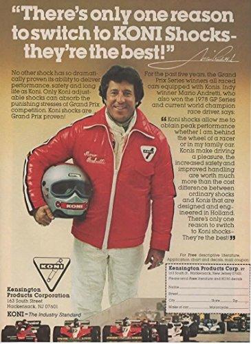 Magazine Print ad: 1979 Indy Winner Mario Andretti for KONI Shocks,