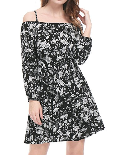 Spaghetti Straps Informal Wedding Dress - Allegra K Women's Cold Shoulder Long Sleeves Floral Bardot Dress M Black
