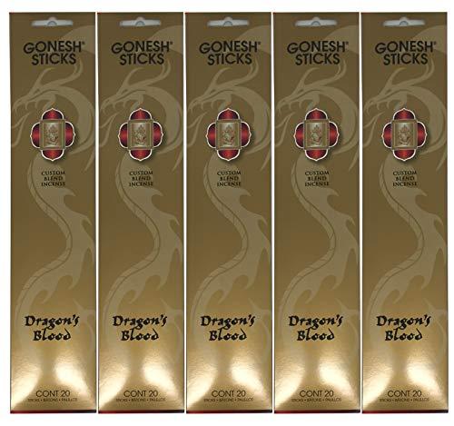 Gonesh Custom Blend Incense Sticks - Dragon's Blood - 5 Packs (100 Total)