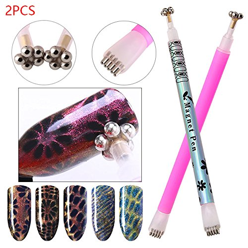 Nail Art Cat Eye Magnet Stick, Leegoal Nail Magnet Stick, Dual-ended Design with Flower and Strip Pattern for 3D Magnetic Cat Eye Gel Nail Polish UV Gel Tools (2 Pcs)