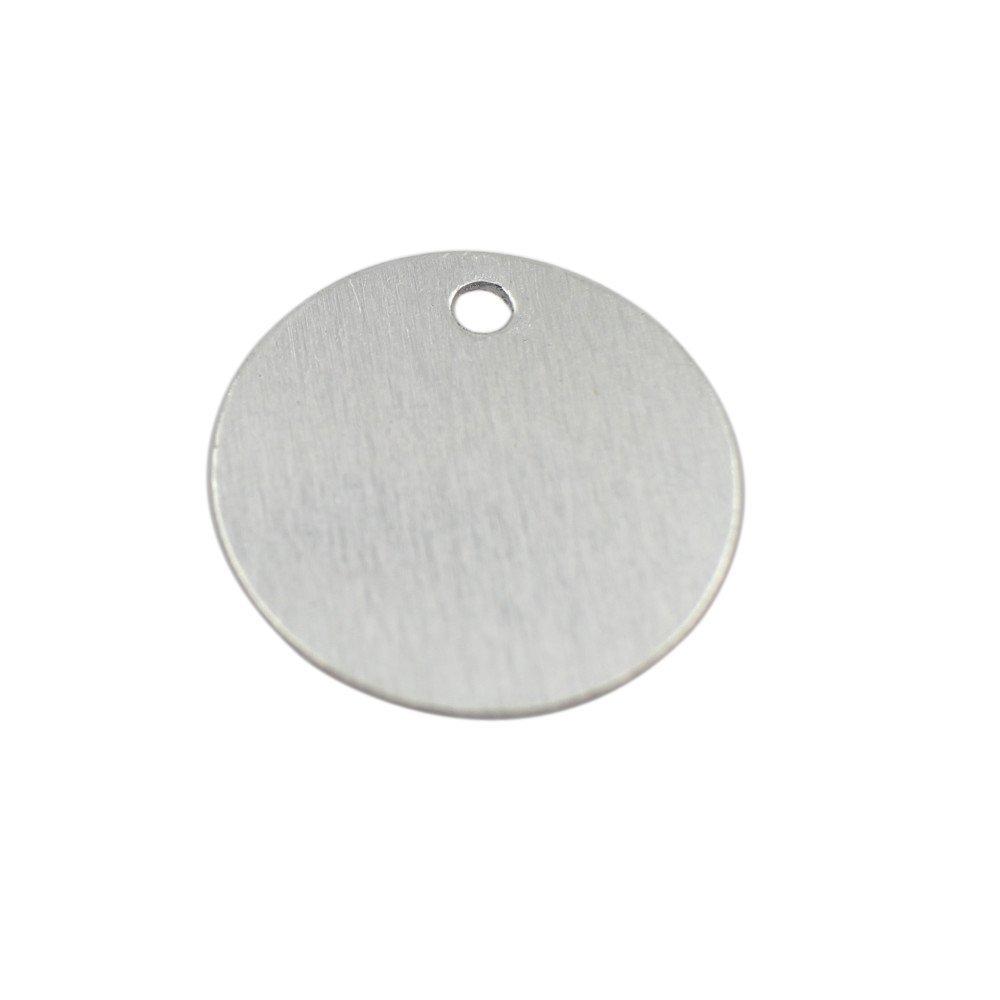 20 Ga. W//Hole Pack of 100 Aluminum .032 Inch GazeKu Blank Stamping Tags 1 Inch Round