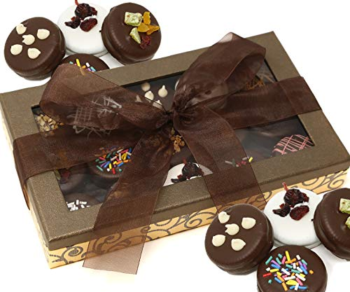 Dodilly Chocolatier Handmade Assorted Exquisitely Decorated Chocolate Cookies Prime Gift Box, for Christmas, Valentines, Father and Mothers Day, Purim Mishloach Manot Gift Baskets -15 count