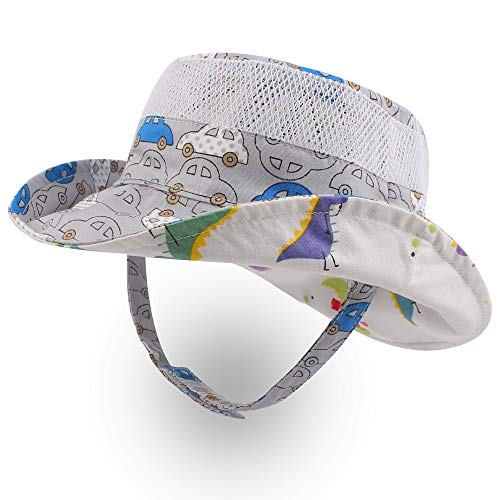 XIAOHAWANG Baby Boy Bucket Toddler Kids Sun Hat UPF 50+ Wide Brim Outdoor Beach Caps Play hat (Mesh Car, L (2-4 Years))]()
