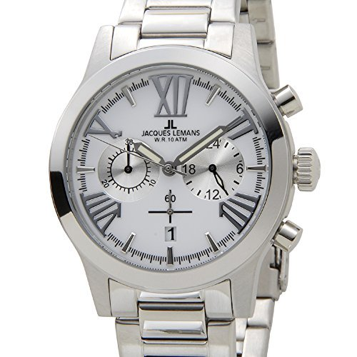 Jack Le Mans Jacques Lemans 1-1809G Porto 42mm Silver Men's Chronograph