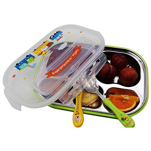 Vine 5 Fächer Kinder bento Brotdose Umwelt Sanitär Edelstahl Lebensmittel-Behälter Kinder Brotdose Auslaufsichere Suppe Reis Schüssel Lebensmittelbehälter (Grün)