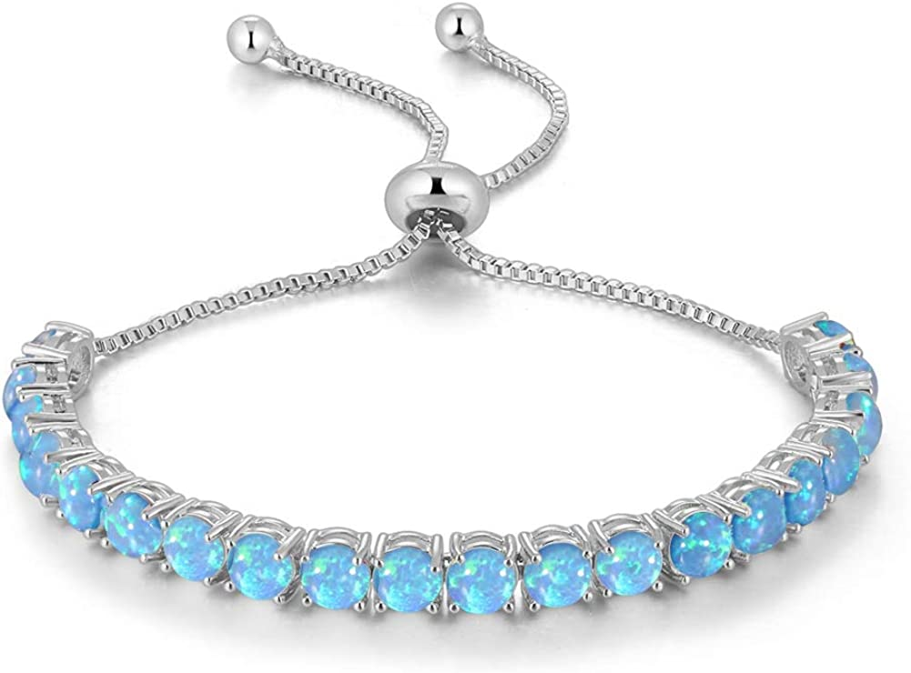 CiNily Adjustable Silver Plated Opal Tennis Bracelet for Women - Fashion Jewelry Gift