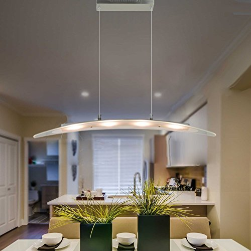 MINGZE Modern LED Pendant Lighting, 4-light Stylish LED Ceiling Chandelier Light, adjustable Hanging Lamp, Metal Glass 3000K Warm Light for Kitchen Island Dining Room, Restaurant (Metal Island Light)