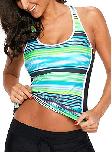 Aleumdr Womens Strappy Racerback Striped Printed Push up Tankini Tops Without Bottoms Grren M 8 10