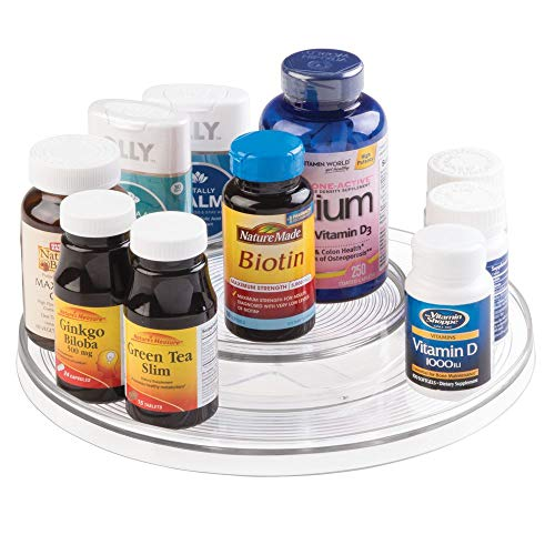 mDesign Spinning 2-Tier Lazy Susan Turntable Storage Bin - Rotating Organizer for Vitamins, Supplements, Serums, Essential Oils, Medical Supplies, First Aid Supplies - 11.5 Round - Clear
