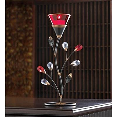 Gifts & Decor D1083 Ruby Blossom Tealight Holder Multicolor