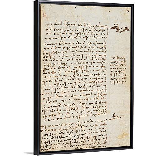 - Leonardo da Vinci Floating Frame Premium Canvas with Black Frame Wall Art Print Entitled Codex on The Flight of Birds, by Leonardo da Vinci, 1505-1506. Royal Library, Turin 24