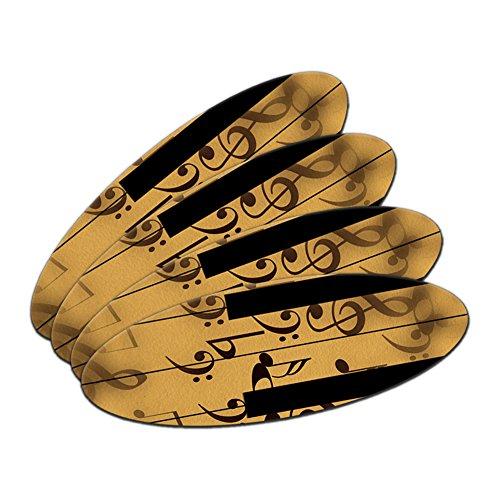 Piano Keys - Pianist Music Treble Clef Oval Nail File Emery Board 4 Pack (Board Treble)