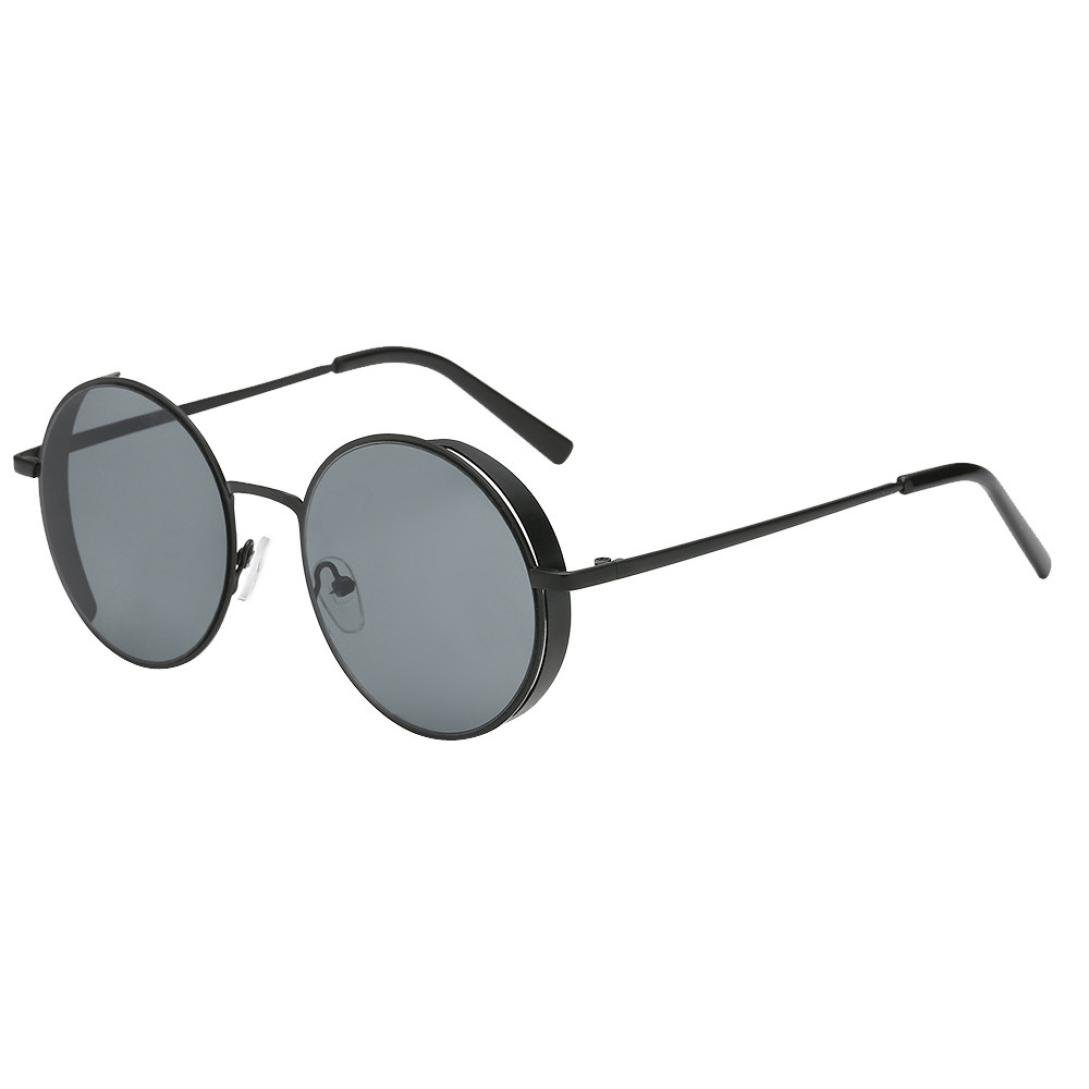 Rounded Sunglasses, PLOT Women Men Fashion Rounded Metal Frame Brand Classic Sunglasses