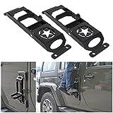 Door Steps Door Hinges for Jeep, BOXATDOOR 2 X Foot Pedal Peg Military Star Black Metal Solid Steel for Jeep Wrangler JK 2007-2017