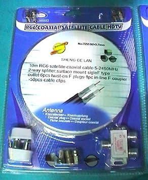 KIT de antena TV: repartidor de 2 enchufes 10 MT hilo x ...