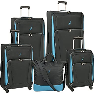 Nautica Weatherboard 5 Piece Luggage Set, Ebony/Star Turquoise, One Size