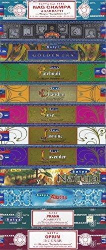 Set of 12 Nag Champa, Super Hit, Golden Era, Prana, Natural Patchouli, Natural Sandal, Natural Jasmine, Natural Lavender, Natural Rose, Aastha, Opium, Natural by Satya - Satya Natural Incense