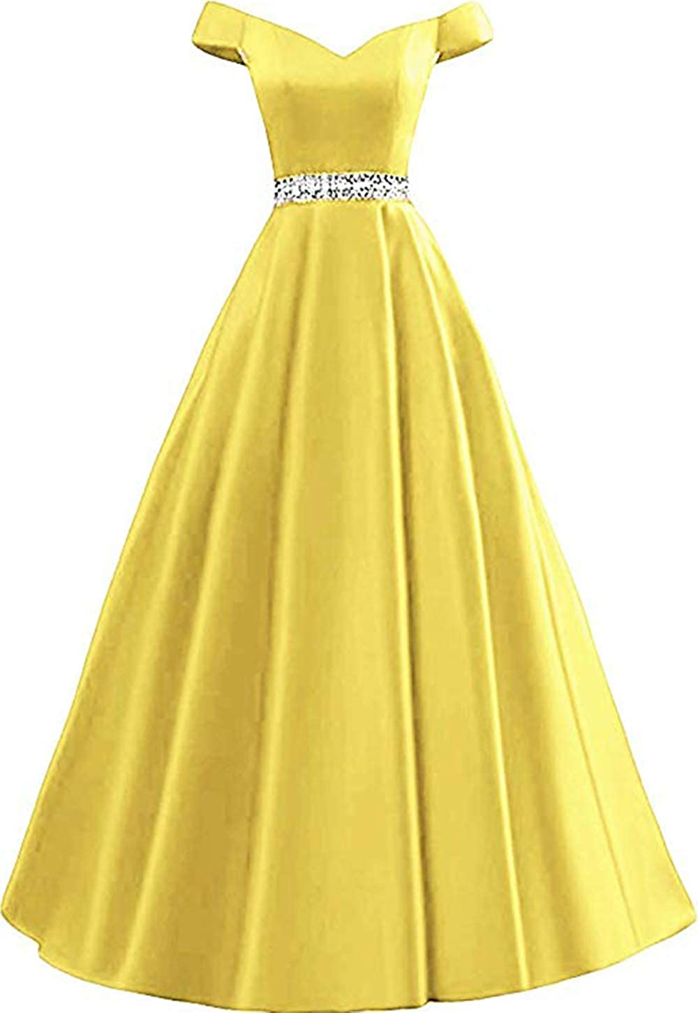 Yellow Rmaytiked Women's Off Shoulder Prom Dresses Long 2019 Satin Beaded A Line Formal Evening Ball Gowns with Pockets