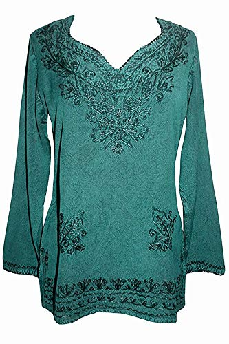 720 B Medieval Renaissance Embroidered Top Blouse (XL/1X, ()