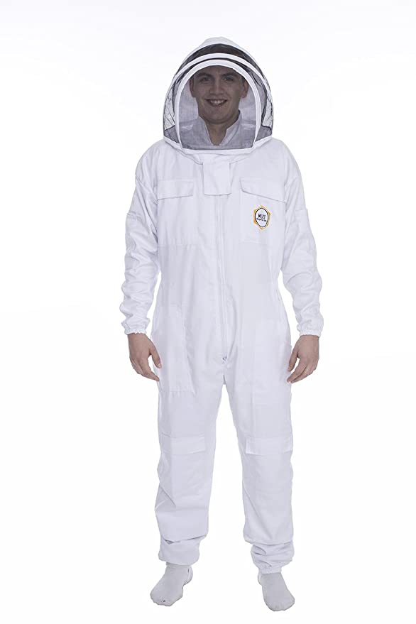 Professional Beekeeping Suit Fancy Veil Coverall Poly Cotton White Color Sting Proof Unisex Design Medium