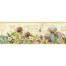 Chesapeake PUR44521B Ellyne Sand Postal Springtime Portrait Wallpaper Border