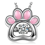 "Image of Dancing Heart ""Puppy Love"" s925 Sterling Silver Animal Dog Paw AAA CZ Pedant Necklace Jewelry for Women Christmas Birthday Anniversary Gifts For Her Wife Mom Sisters Teen Girls"