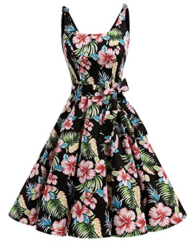Bbonlinedress Vestidos de 1950 Estampado Vintage Retro Cóctel Rockabilly con Lazo Black Flower