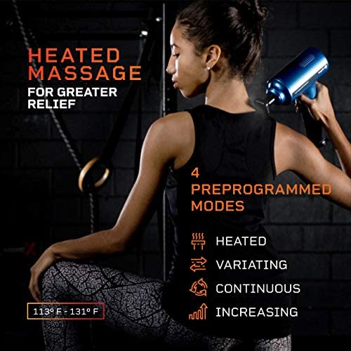Fusion FX Heated Percussion Massage Gun – Deep Tissue Massager for Muscle Pain Relief, Enhanced Recovery for Athletes & Percussive Therapy – 3 Auto Modes, 5 Powerful Speeds, Handheld Electric Device 51dhpATVZNL
